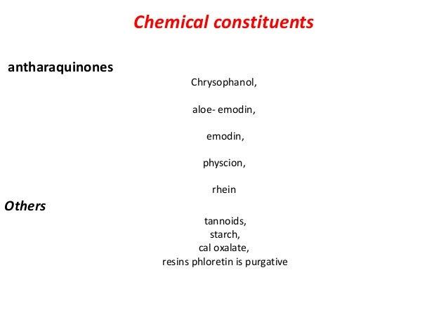 chemical test 1 -Rhubarb powder+ ammonia= pink colour 2 -Rhubarb powder+ 5% potassium hydroxide solution= blood red colour