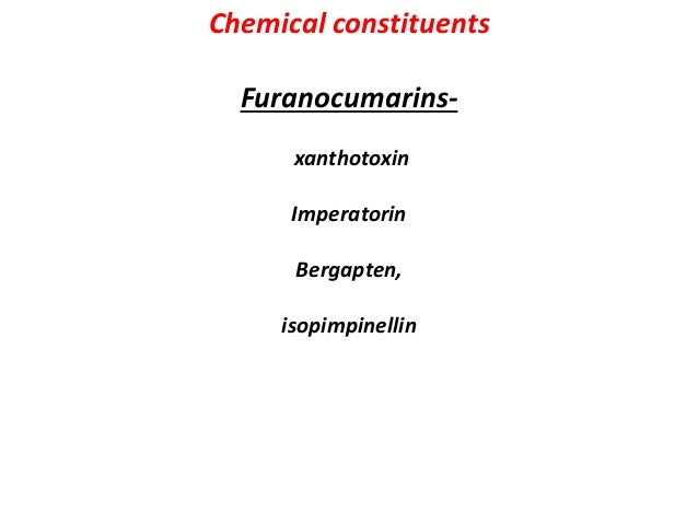 Uses Furanocoumarins stimulate pigment production in skin when exposed to bright sunlight ,so used in skin disease like vi...