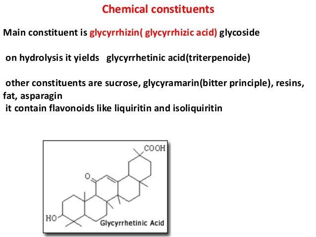 Chemical constituents Main constituent is glycyrrhizin( glycyrrhizic acid) glycoside on hydrolysis it yields glycyrrhetini...