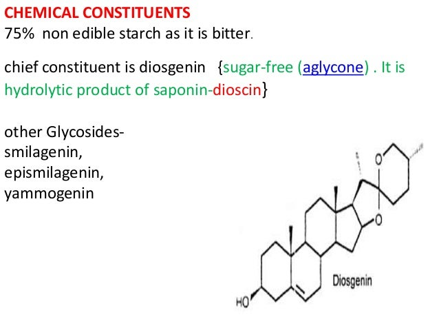 CHEMICAL CONSTITUENTS 75% non edible starch as it is bitter. chief constituent is diosgenin {sugar-free (aglycone) . It is...