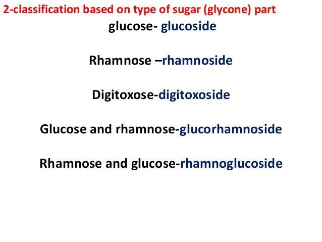 2-classification based on type of sugar (glycone) part glucose- glucoside Rhamnose –rhamnoside Digitoxose-digitoxoside Glu...