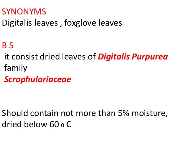 SYNONYMS Digitalis leaves , foxglove leaves B S it consist dried leaves of Digitalis Purpurea family Scrophulariaceae Shou...