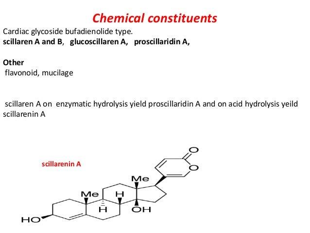 Chemical constituents Cardiac glycoside bufadienolide type. scillaren A and B, glucoscillaren A, proscillaridin A, Other f...