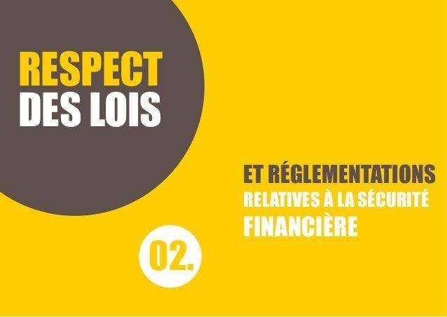 RESPECT DES LOIS ET RÉGLEMENTATIONS RELATIVES À LA SÉCURITÉ FINANCIÈRE 02.