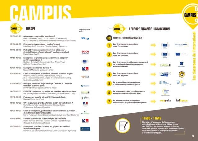 CAMPUS TOUTES LES INFORMATIONS SUR : Les financements européens pour l'innovation Les financements européens pour les star...