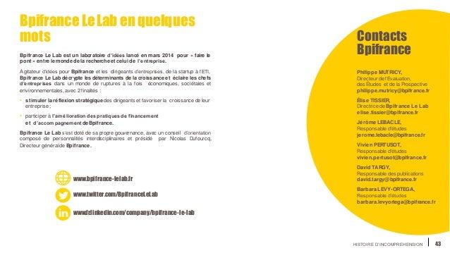 HISTOIRE D'INCOMPREHENSION 43 BpifranceLeLab enquelques mots Bpifrance Le Lab est un laboratoire d'idées lancé en mars 201...