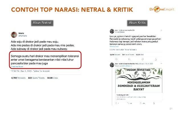 CONTOH TOP NARASI: NETRAL & KRITIK 21 Akun Netral Akun Kritis