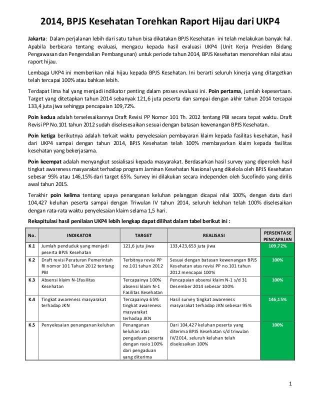 1 2014, BPJS Kesehatan Torehkan Raport Hijau dari UKP4 Jakarta: Dalam perjalanan lebih dari satu tahun bisa dikatakan BPJS...