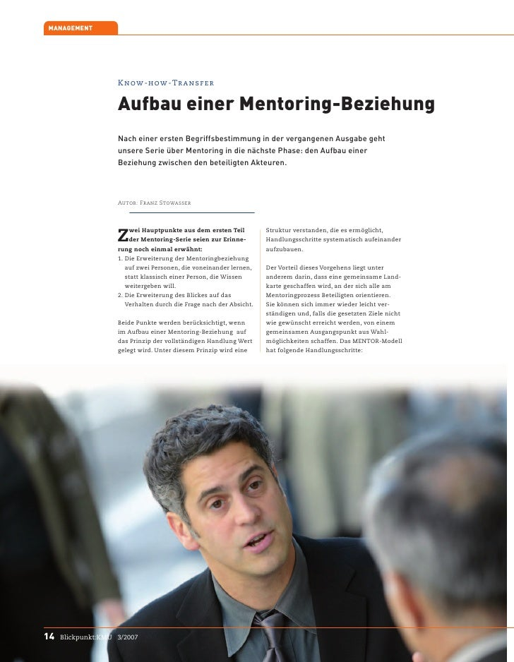 MANAGEMENT                         Know-how-Transfer                       Aufbau einer Mentoring-Beziehung               ...