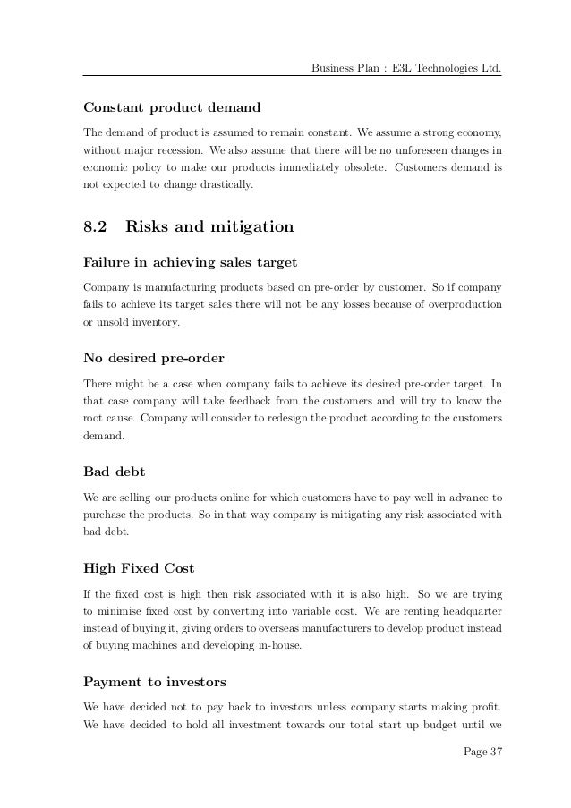 Business plan example business plan e3l technologies friedricerecipe Images