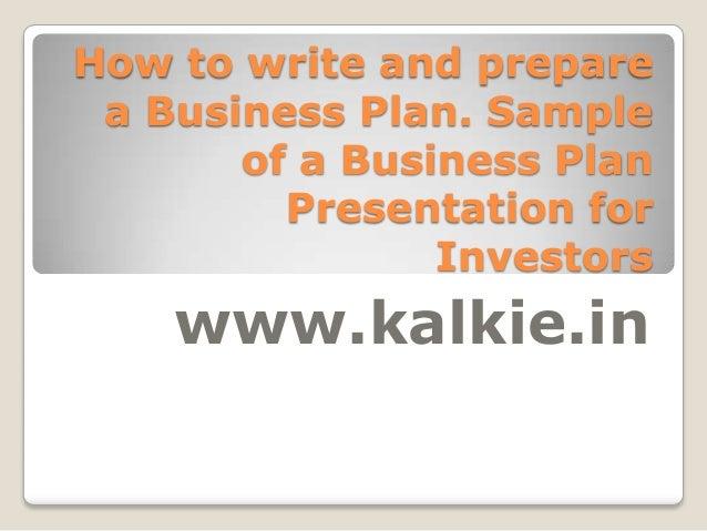 Investor business plan presentation