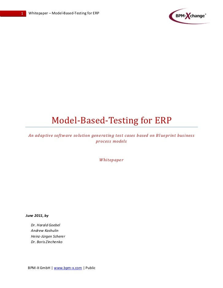 1    Whitepaper – Model-Based-Testing for ERP                    Model-Based-Testing for ERP     An adaptive software solu...