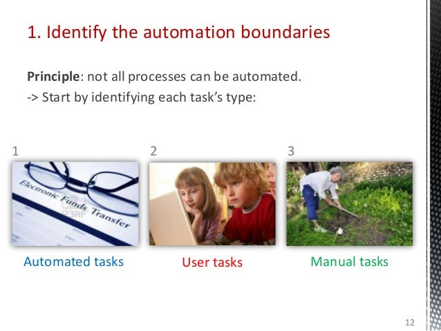 1. Identify the automation boundaries Principle: not all processes can be automated. -> Start by identifying each task's t...