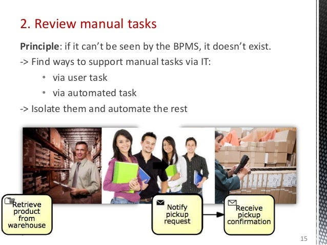 2. Review manual tasks Principle: if it can't be seen by the BPMS, it doesn't exist. -> Find ways to support manual tasks ...
