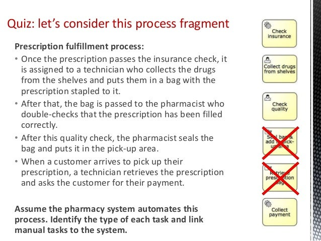 Prescription fulfillment process: • Once the prescription passes the insurance check, it is assigned to a technician who c...