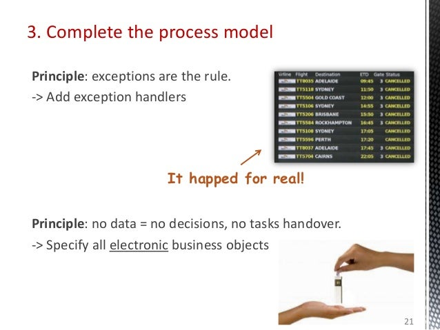 3. Complete the process model Principle: exceptions are the rule. -> Add exception handlers Principle: no data = no decisi...