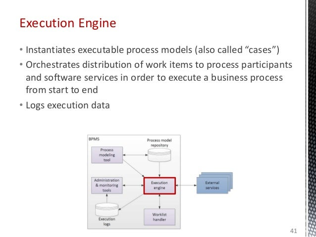 """Execution Engine • Instantiates executable process models (also called """"cases"""") • Orchestrates distribution of work items ..."""