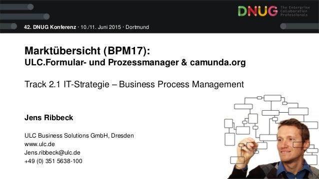 42. DNUG Konferenz · 10./11. Juni 2015 · Dortmund Marktübersicht (BPM17): ULC.Formular- und Prozessmanager & camunda.org T...
