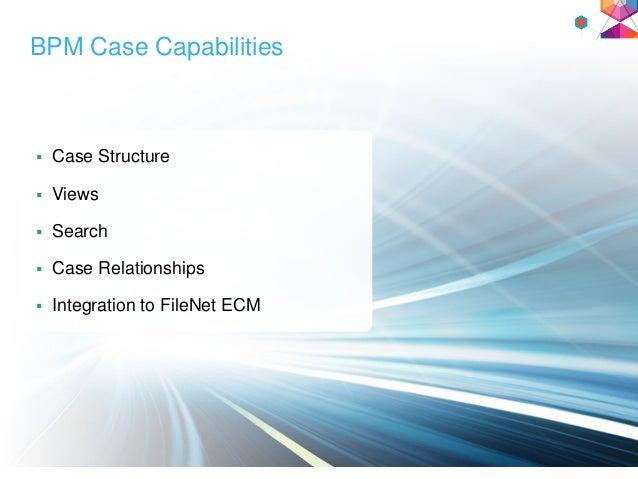 BPM Case Capabilities  Case Structure  Views  Search  Case Relationships  Integration to FileNet ECM