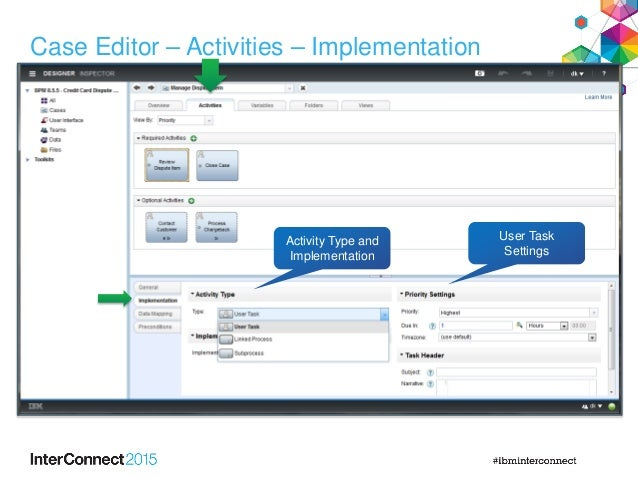Case Editor – Activities – Implementation Activity Type and Implementation User Task Settings