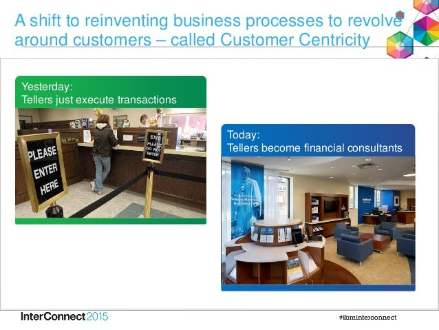 A shift to reinventing business processes to revolve around customers – called Customer Centricity Yesterday: Tellers just...