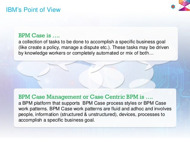 IBM's Point of View BPM Case is …. a collection of tasks to be done to accomplish a specific business goal (like create a ...
