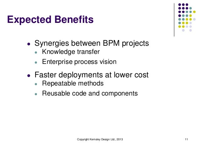 Expected Benefits   l   Synergies between BPM projects       l   Knowledge transfer       l   Enterprise process vision   ...