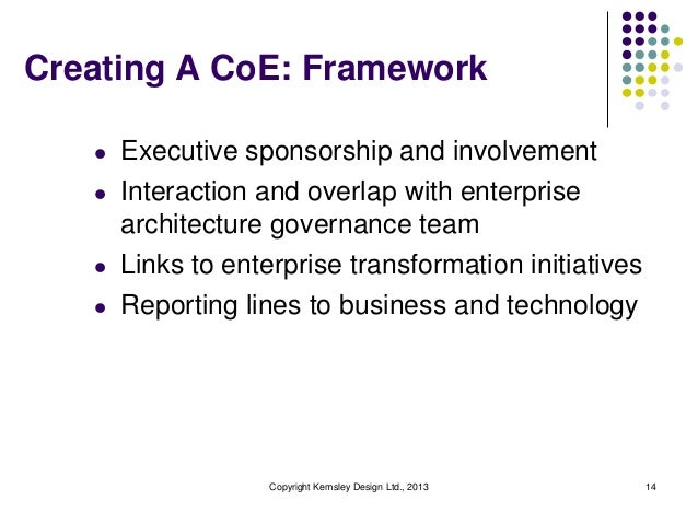 Creating A CoE: Framework   l   Executive sponsorship and involvement   l   Interaction and overlap with enterprise       ...