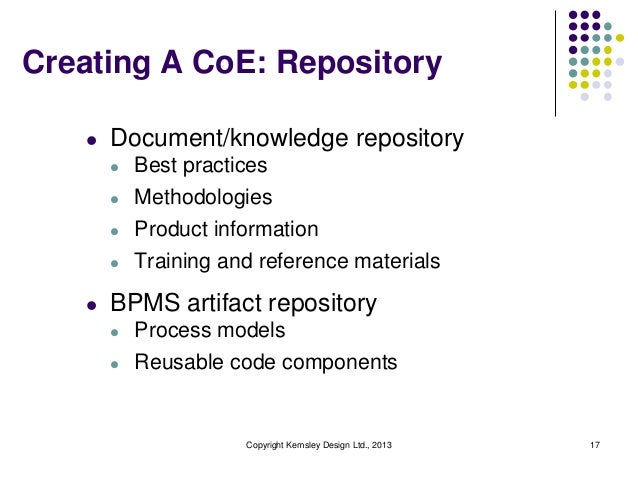 Creating A CoE: Repository   l   Document/knowledge repository       l   Best practices       l   Methodologies       l   ...
