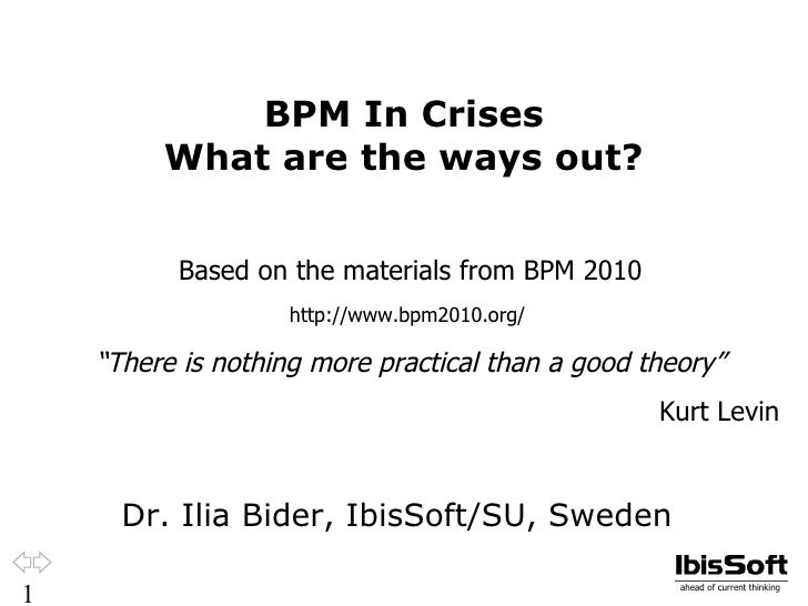 BPM In Crises         What are the ways out?          Based on the materials from BPM 2010                    http://www.b...