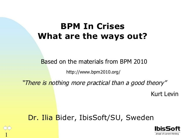 BPM In Crises What are the ways out? Dr. Ilia Bider, IbisSoft/SU, Sweden Based on the materials from BPM 2010 http://www.b...