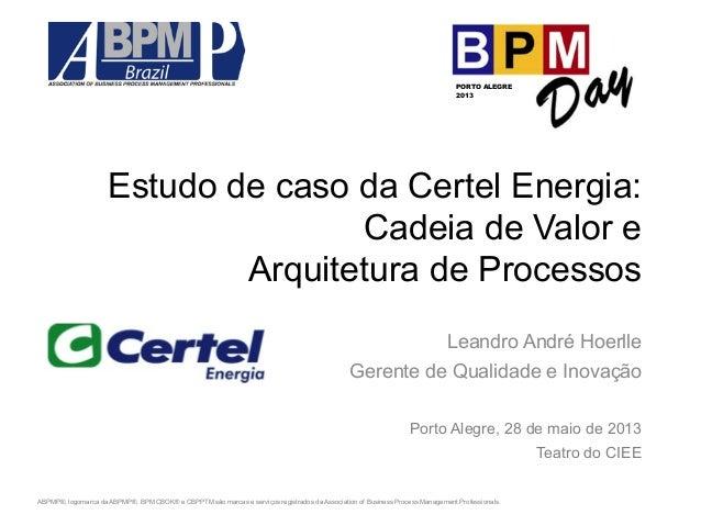 Estudo de caso da Certel Energia:  Cadeia de Valor e  Arquitetura de Processos  Leandro André Hoerlle  Gerente de Qualidad...