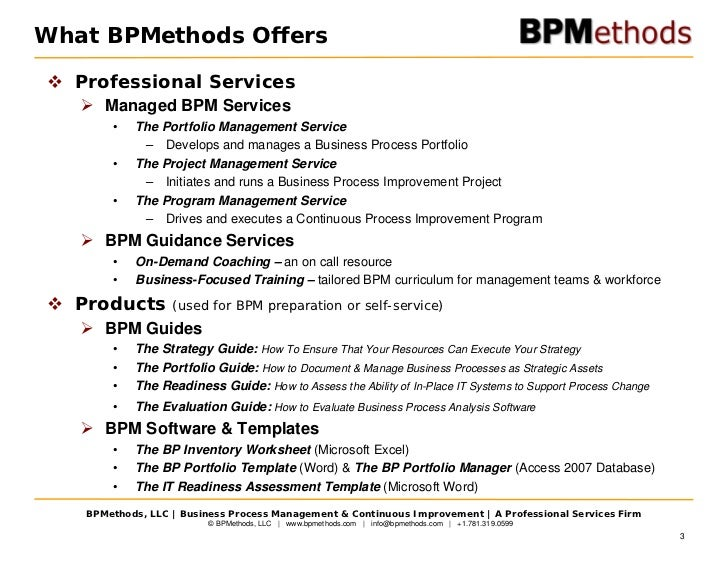 Strategy business process management 3 what bpmethods offers professional services managed bpm friedricerecipe