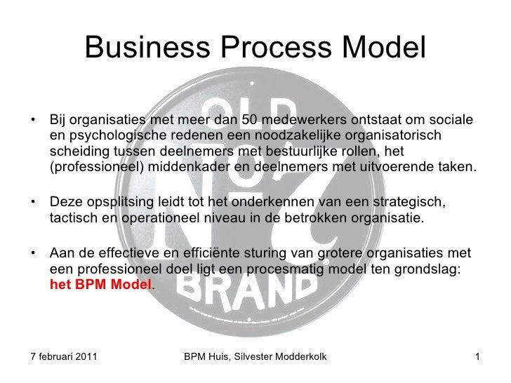 Business Process Model <ul><li>Bij organisaties met meer dan 50 medewerkers ontstaat om sociale en psychologische redenen ...
