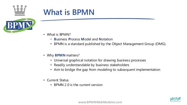 What is BPMN www.BPMNWebModeler.com • What is BPMN? • Business Process Model and Notation • BPMN is a standard published b...