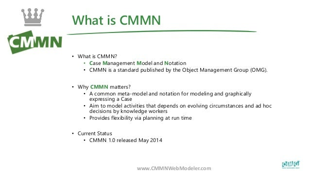 What is CMMN www.CMMNWebModeler.com • What is CMMN? • Case Management Model and Notation • CMMN is a standard published by...