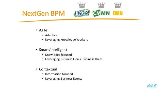 NextGen BPM • Agile • Adaptive • Leveraging Knowledge Workers • Smart/Intelligent • Knowledge focused • Leveraging Busines...