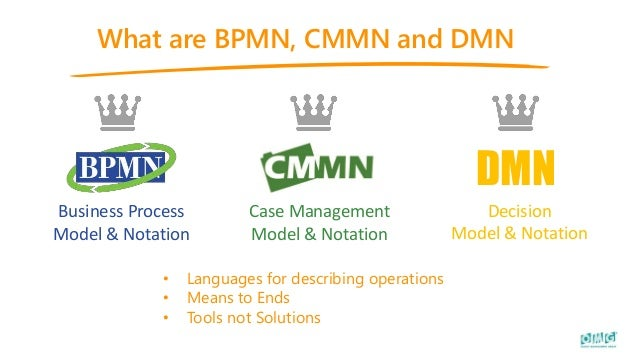 What are BPMN, CMMN and DMN • Languages for describing operations • Means to Ends • Tools not Solutions Business Process M...