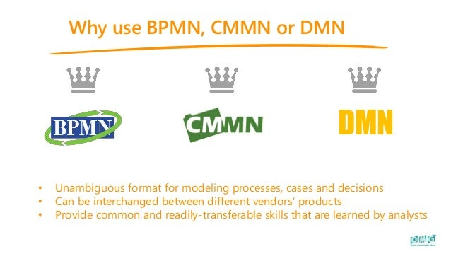 Why use BPMN, CMMN or DMN DMN • Unambiguous format for modeling processes, cases and decisions • Can be interchanged betwe...