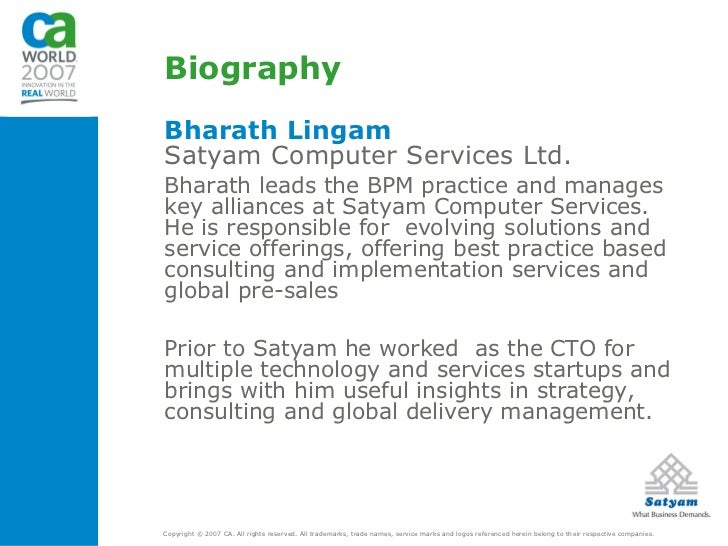 business process outsourcing a case study of satyam computers Satyam computer's 'gram it' – an indian it giant's csr model case study reference no csr0059c this case was written by lekha ravi, icfai business school research centre, chennai.