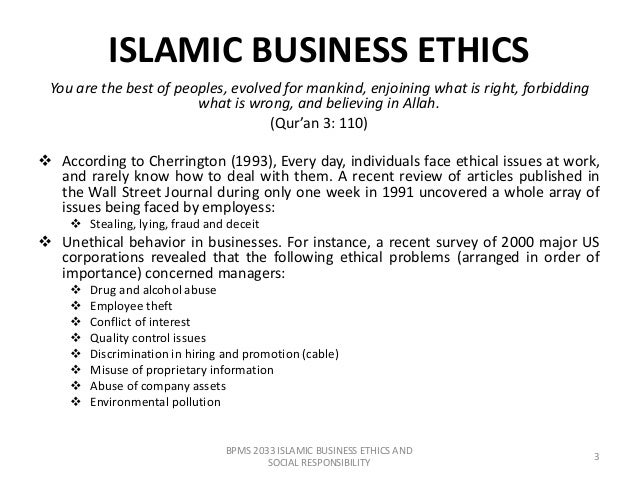 Some Key Business Ethics Principles in Islam