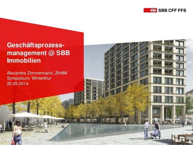 Geschäftsprozess- management @ SBB Immobilien Alexandra Zimmermann, ZHAW Symposium, Winterthur 20.05.2014