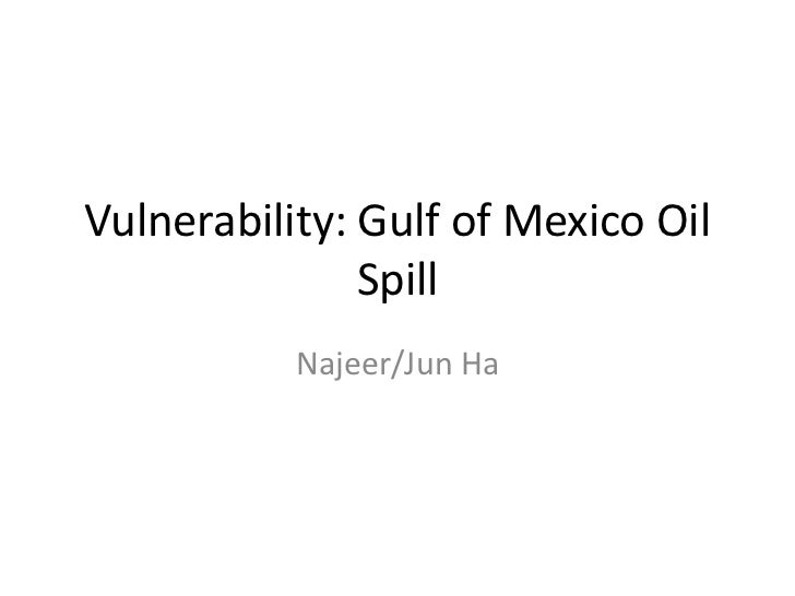 Vulnerability: Gulf of Mexico Oil Spill<br />Najeer/Jun Ha<br />