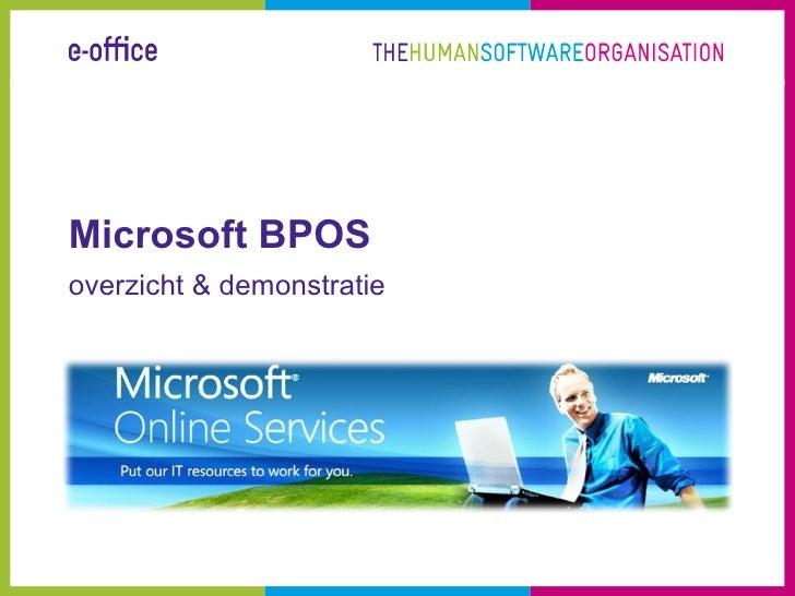 Microsoft BPOS overzicht & demonstratie