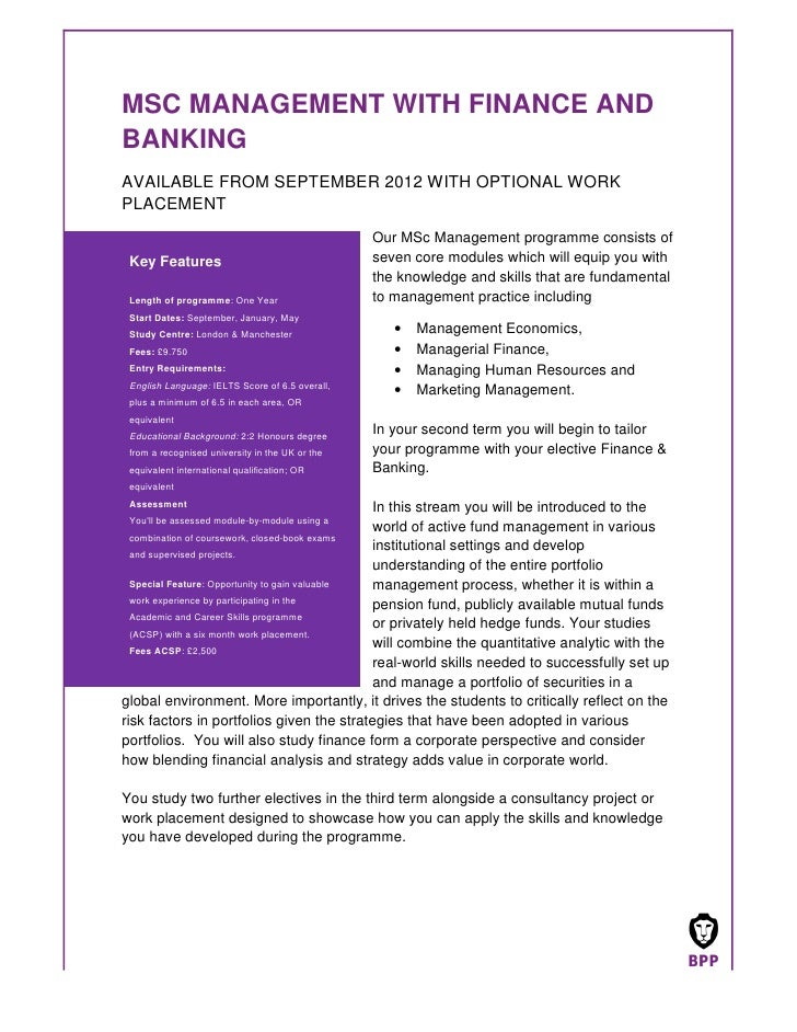 MSC MANAGEMENT WITH FINANCE ANDBANKINGAVAILABLE FROM SEPTEMBER 2012 WITH OPTIONAL WORKPLACEMENT                           ...