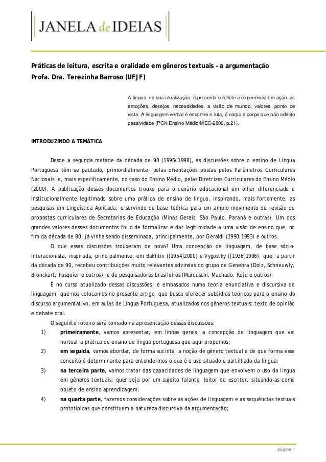 página 1 Práticas de leitura, escrita e oralidade em gêneros textuais – a argumentação Profa. Dra. Terezinha Barroso (UFJF...