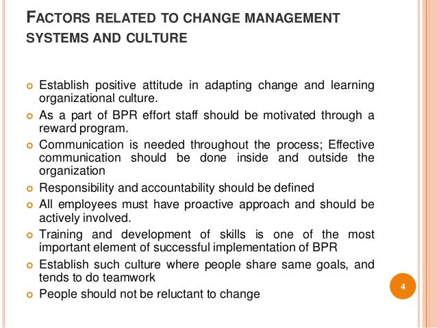 most important features in the successful implementation of organisational change Organisational change is a constant in organisations today and can be driven by a number of different forces, including customers, markets and technology yet research shows that most change initiatives fail to accomplish their intended outcomes and may even limit the potential of an organisation.