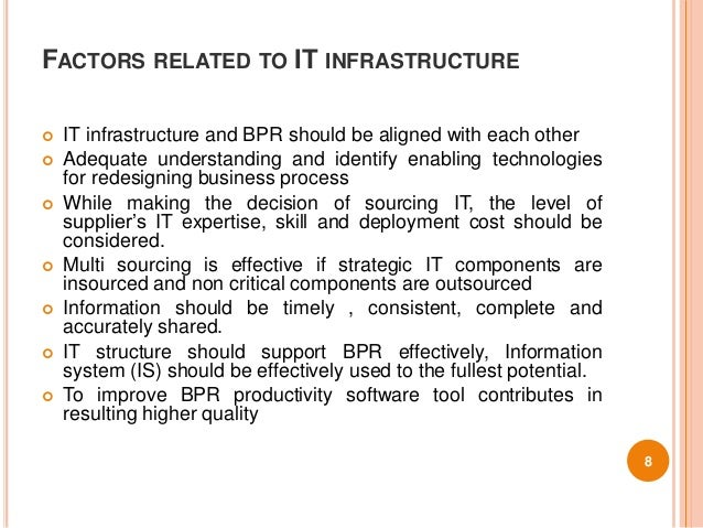 9 bpr success and failure factors These bpr factors are essential elements to the successful  the active  involvement of people in redesigning the process for change [8, 9]   organizational structure should be flexible in order to avoid the failure of bpr.