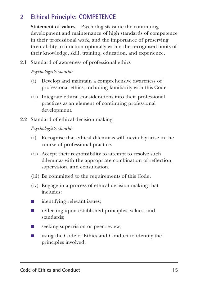 ethical principles of psychologists code of conduct essay This undergraduate level psychology paper is a brief examination of the 1991 apa document, ethical principles of psychologists and code of conduct.