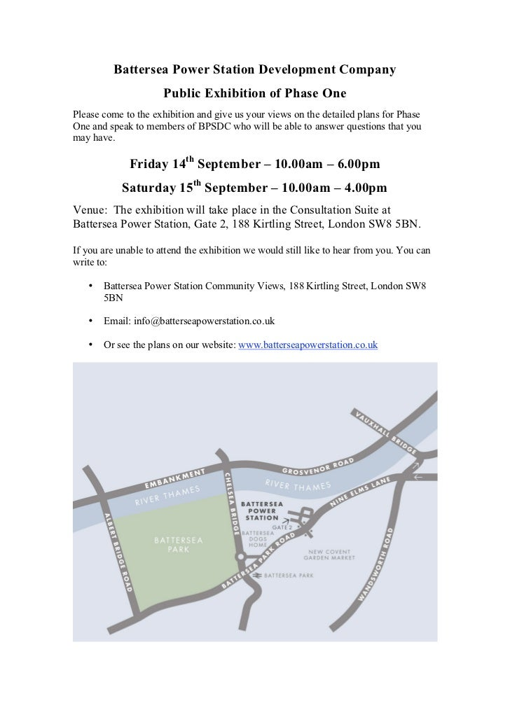 Battersea Power Station Development Company                      Public Exhibition of Phase OnePlease come to the exhibiti...